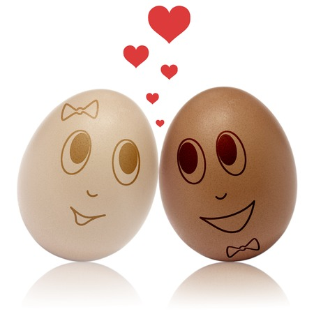 Two eggs in love with heart romance photo