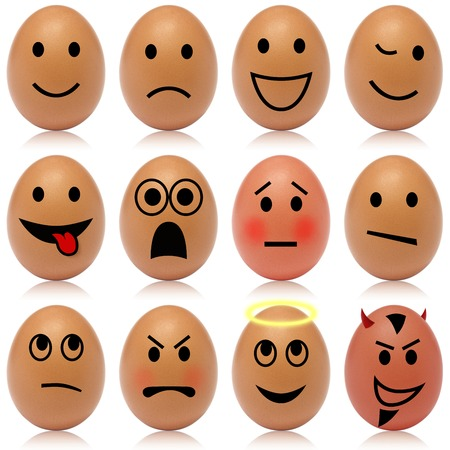 remorse: Set of 12 egg smileys Stock Photo