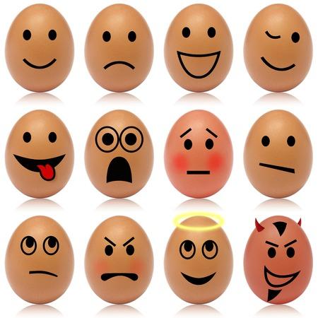 Set of 12 egg smileys Banco de Imagens
