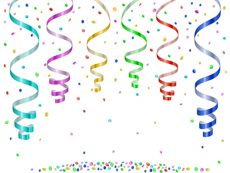 Confetti and serpentines, party curled streamers Vector