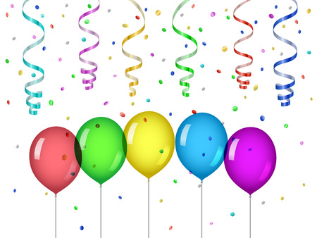 Confetti and party balloons Stock Illustratie