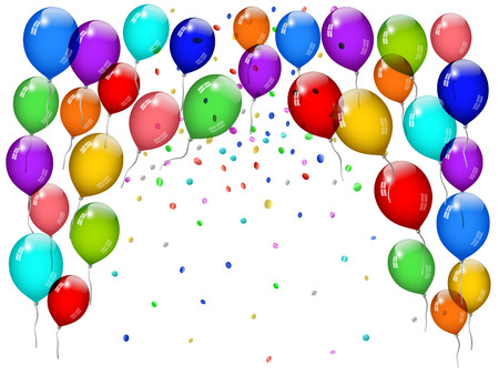 Party balloons with confetti Vector