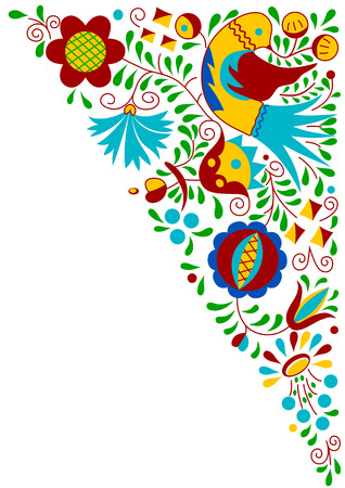 bohemian: Moravian folk bird ornament  South Moravia, Czech Republic  Illustration
