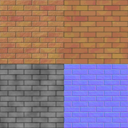 Brick wall seamless generated hires texture  with diffuse, bump and normal map