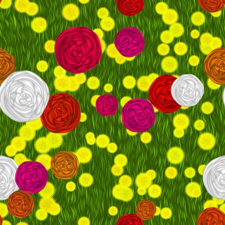 gillyflower: Flowers on meadow seamless generated hires texture