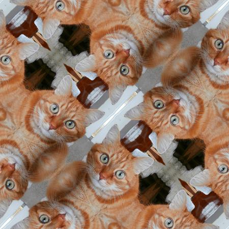 Kaleidoscopic cat seamless generated texture Stock Photo