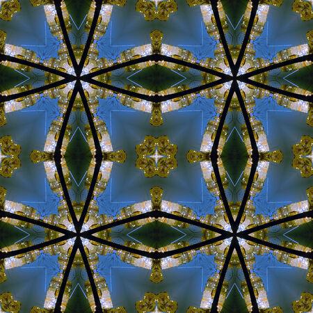 kaleidoscopic: Kaleidoscopic night city seamless texture Stock Photo