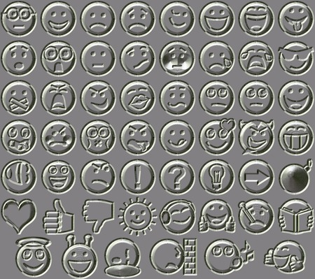bas relief: Metal relief 54 smiley emotion icons background Stock Photo
