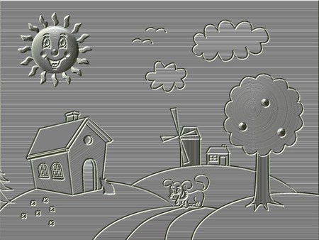 bas relief: Metal relief landscape with happy sun