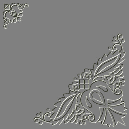 carved letters: Metal relief Moravian folk ornament background Stock Photo