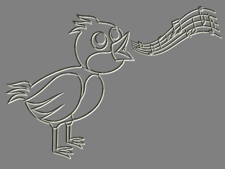 Metal relief singing bird photo