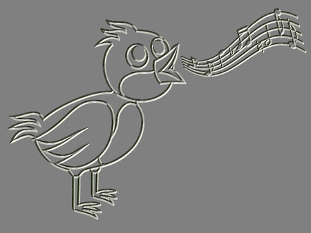 warble: Metal relief singing bird