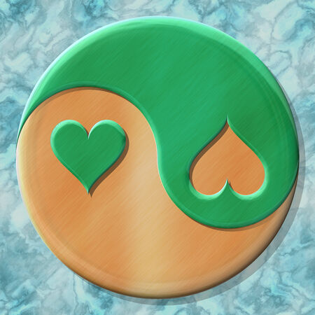 fateful: Yin-yang heart symbol with seamless generated texture background Stock Photo