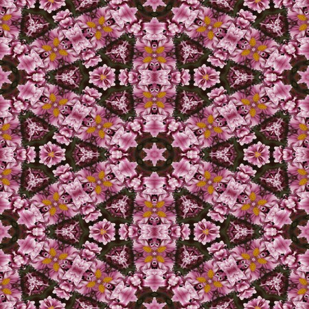 Kaleidoscopic floral seamless generated texture Stock Photo