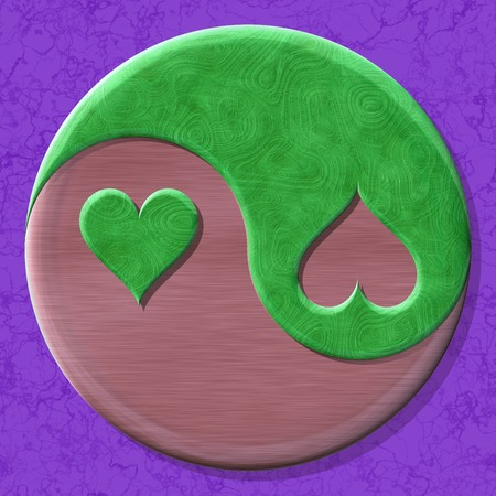 fateful: Yin-yang heart symbol with seamless generated texture