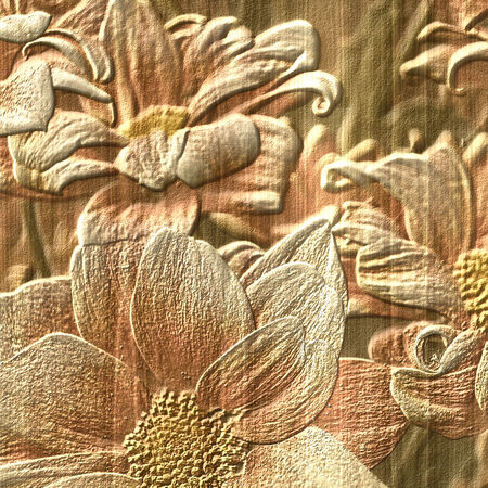 bas relief: Flower stone relief background