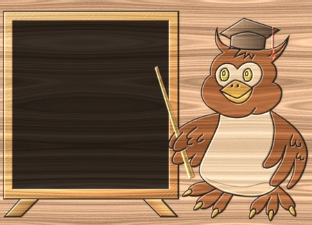 Wise owl relief painting on generated wood texture background photo