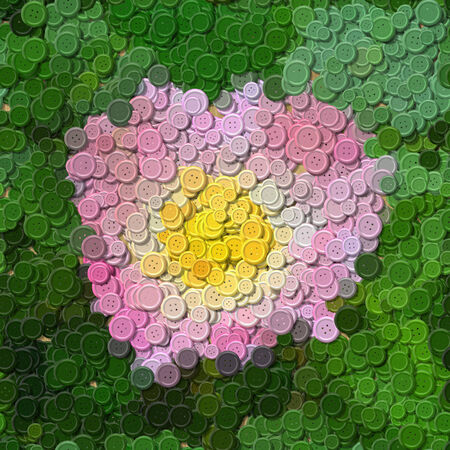 stud: Pink rose sewing buttons image generated background