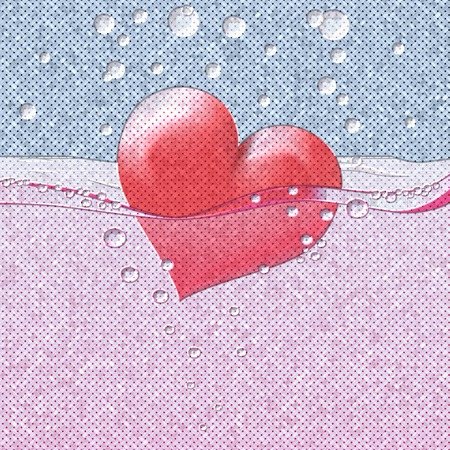 Philtre drink of love relief painting on generated knit texture background