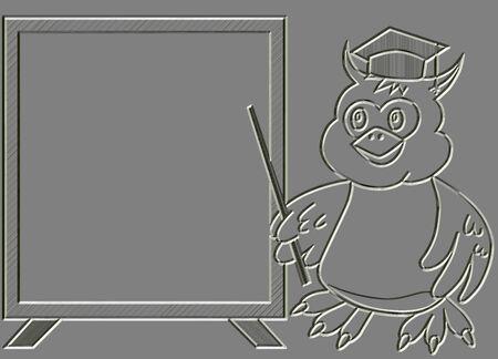 Metal relief wise owl teacher with blackboard photo