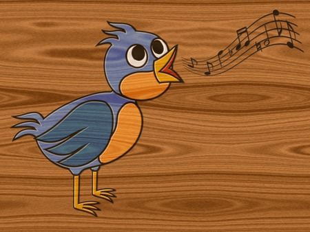 Singing bird relief painting on generated wood texture background photo