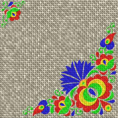 bas relief: Moravian folk ornament relief painting on generated knit texture background