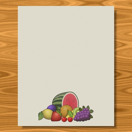 Fruits writing paper wood texture background