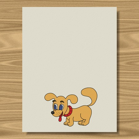 Dog writing paper texture wood background photo