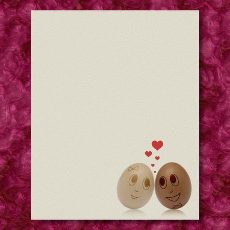 Eggs in love writing paper marble texture background