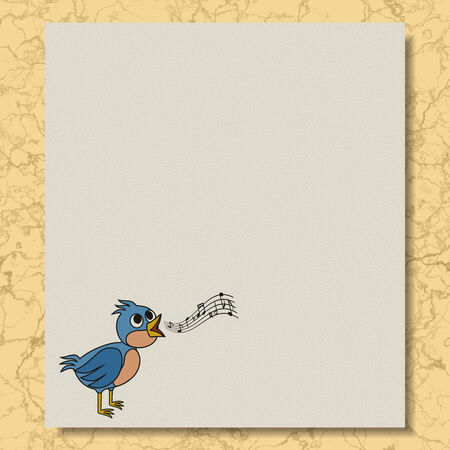 Singing bird writing paper marble texture background Фото со стока