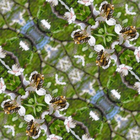 Kaleidoscopic bee on flower seamless generated texture