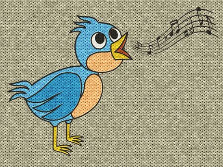 Singing bird relief painting on generated knit texture background photo