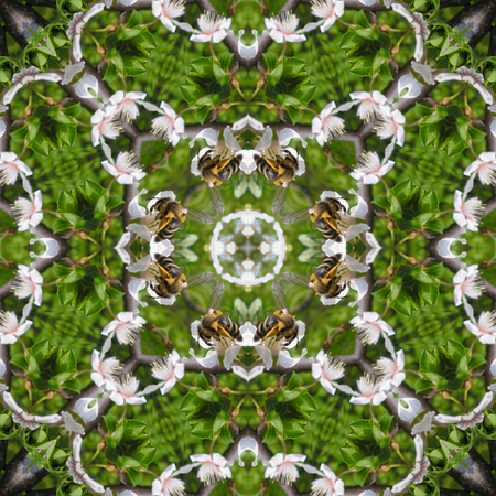 Kaleidoscopic bee on flower seamless generated texture