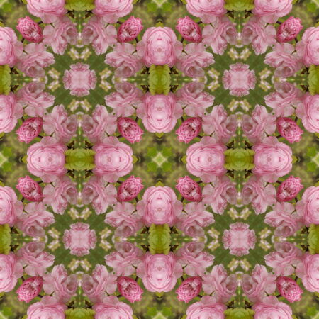 Kaleidoscopic flower seamless generated texture or background
