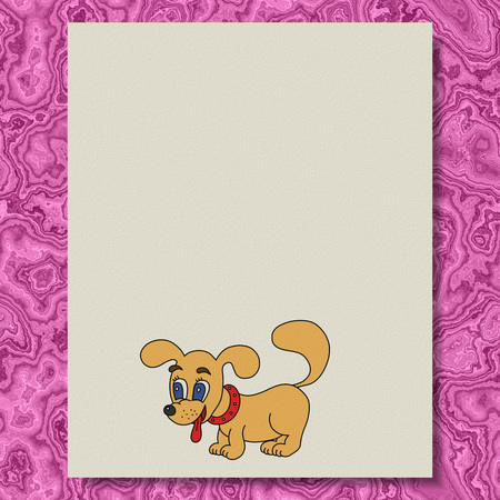 Dog writing paper texture marble background photo