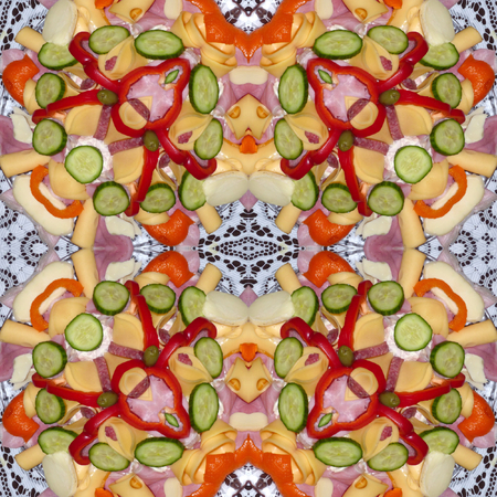Kaleidoscopic food seamless generated texture or background