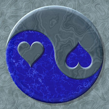 yinyang: Yin-yang heart symbol with seamless generated texture background Stock Photo