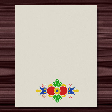 Moravian folk ornament writing paper wood texture background Фото со стока