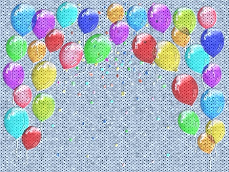 Confetti relief painting on generated knit texture background photo