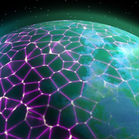 the natural world: Network on planet generated texture background Stock Photo