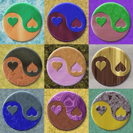 fateful: Set of yin-yang heart symbol generated textures