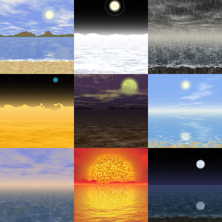 Set of abstract landscape generated backgrounds photo
