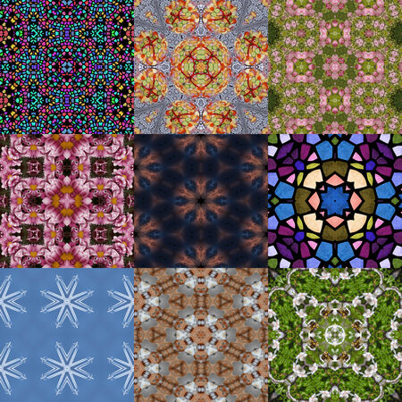 generative: Set of kaleidoscopic seamless generated textures Stock Photo