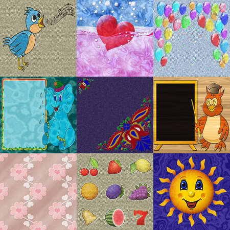 Set of relief painting generated textures