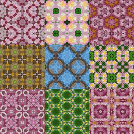 generative: Set of glass mosaic kaleidoscopic seamless generated textures Stock Photo
