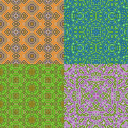 generative: Set of wallpaper cubic floral seamless generated textures