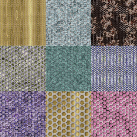 Set of wire mesh seamless generated textures photo