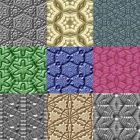 Set of Mayan ornaments seamless generated textures photo