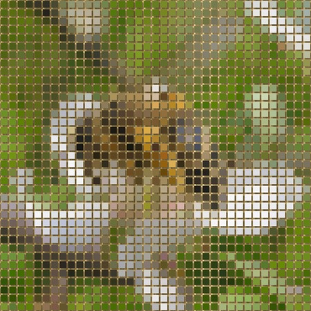 to bloom: Bee on bloom pixelated image generated texture Stock Photo