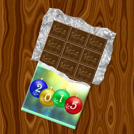 New Year 2015 chocolate generated texture photo